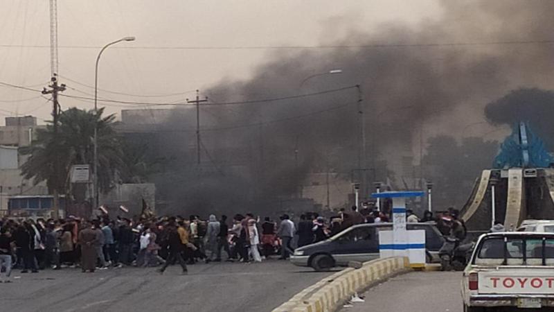 حرق ديوان الوقف الشيعي في الناصرية