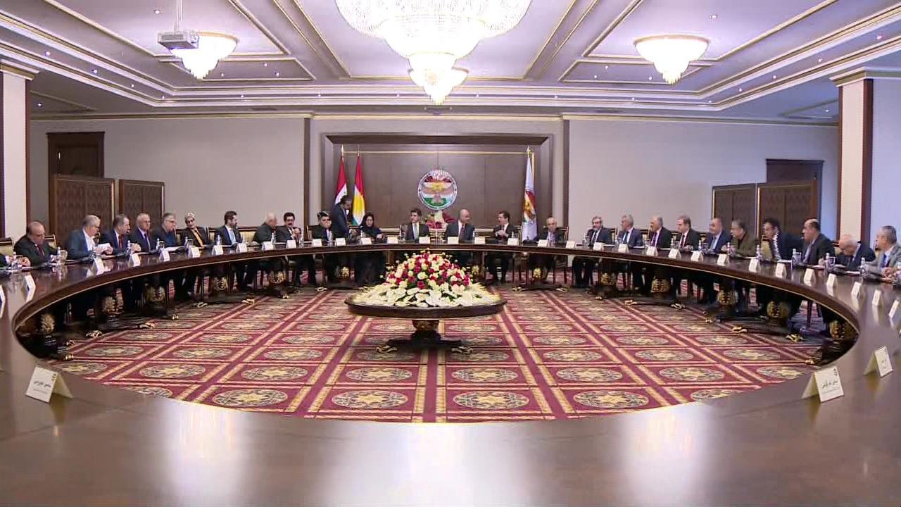 اجتماع رئاسات كوردستان وقادة الاحزاب مع الرئيس العراقي في صور