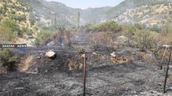 فيديو.. النيران تلتهم مزارع بدهوك جراء اشتباكات على حدود تركيا