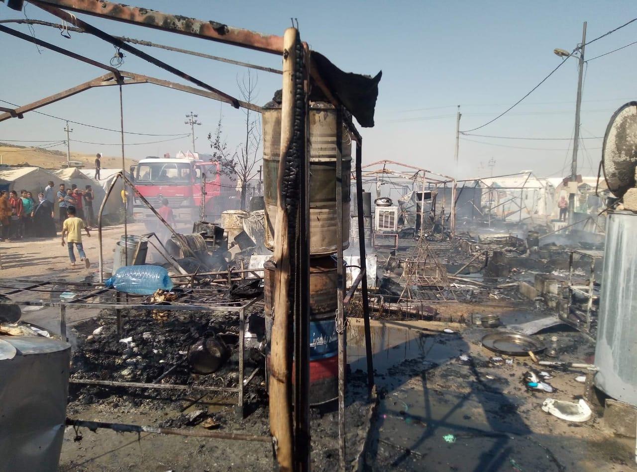 صور .. حريقان متزامنان يأتيان على خيام للنازحين في دهوك