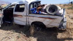 وفاة واصابة سبعة اشخاص بانقلاب سيارة في اربيل