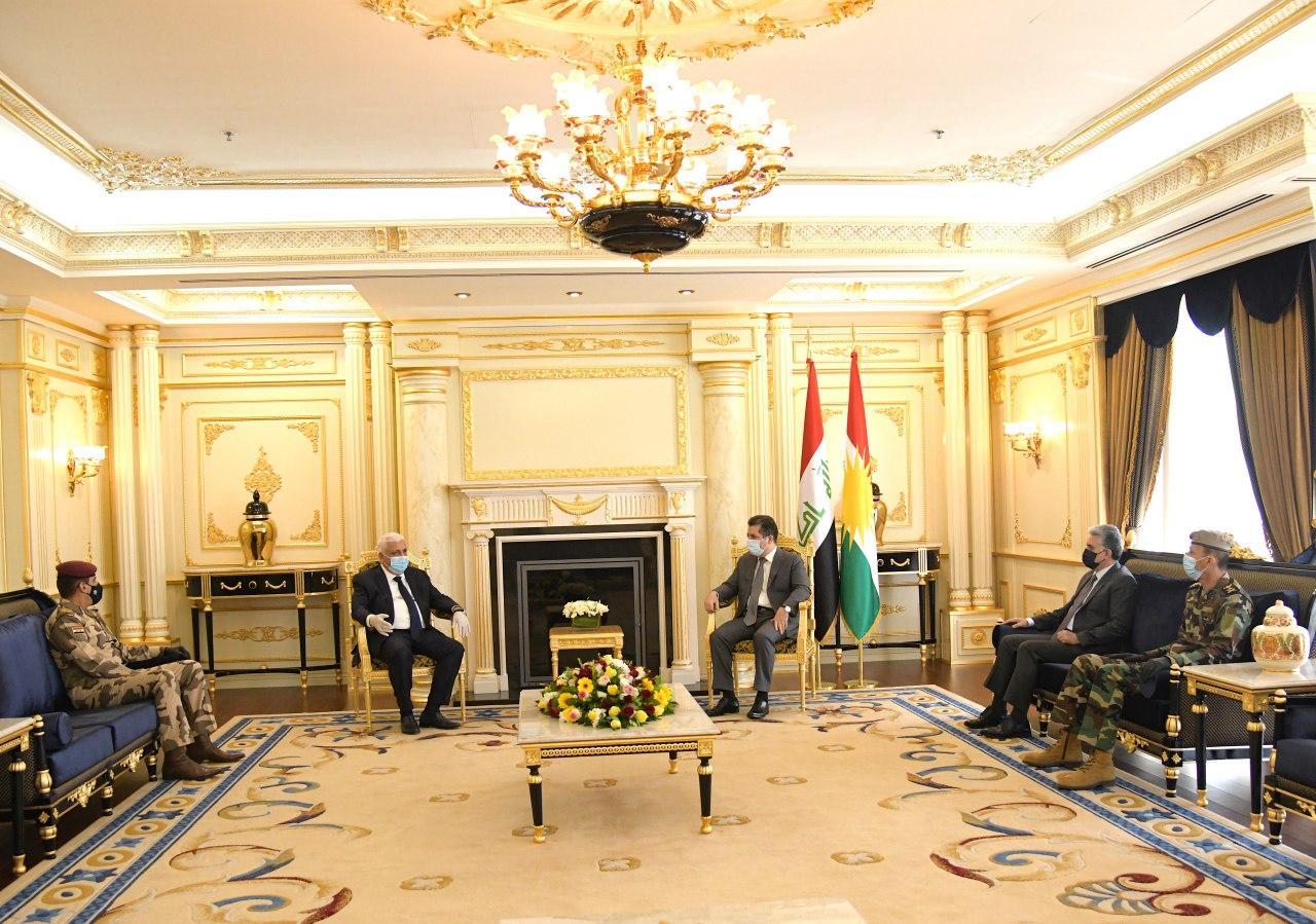 Masrour Barzani holds military talks with leaders of Al-Hashd Al-Shaabi and Iraqi Army