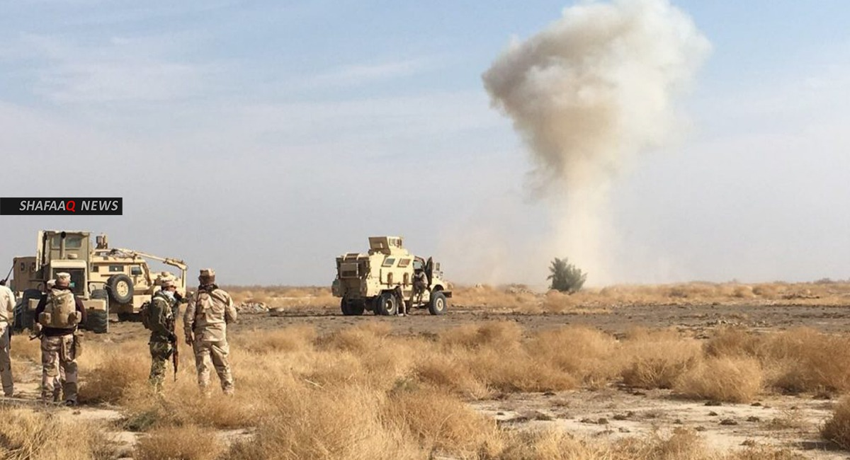 An explosion targets a military vehicle north of Baghdad