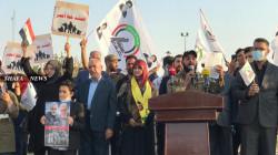 أنصار الحشد يتظاهرون أمام مقر الرئيس العراقي