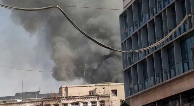 اندلاع حريق قرب البنك المركزي العراقي وسط بغداد