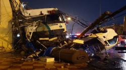 السليمانية.. إصابات خطرة في حادث اصطدام شاحنة بـ11 سيارة (صور)