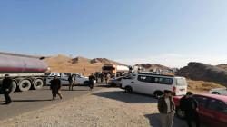 صور .. عناصر من قوات البيشمركة يقطعون طريقاً حيوياً إحتجاجاً على نقلهم