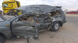 صور.. مصرع 3 أشخاص وإصابة رابع بجروح بليغة بحادث مروري في الانبار