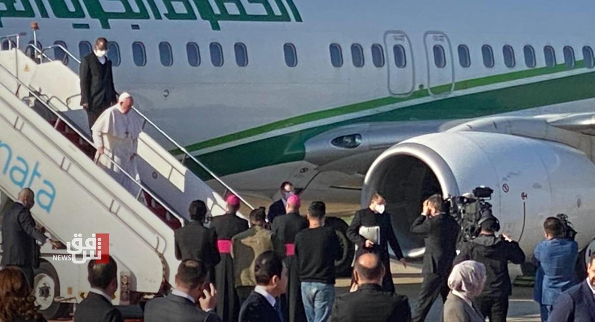 في محطته الرابعة .. البابا يصل عاصمة إقليم كوردستان ونيجيرفان بارزاني في إستقباله