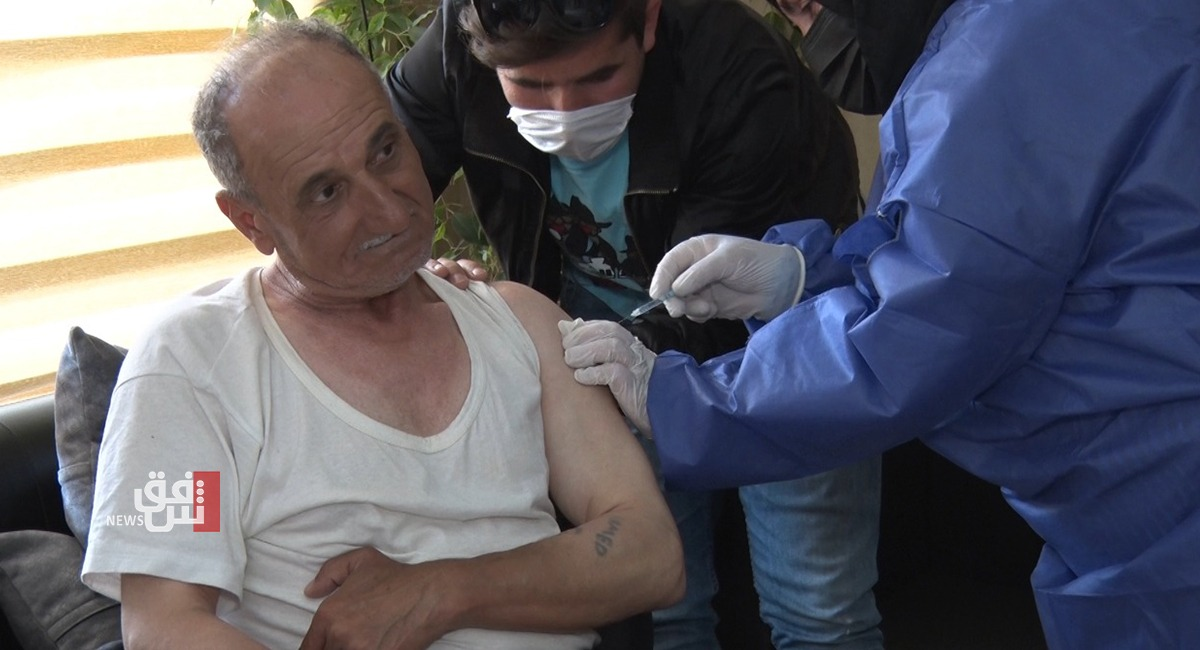 Health authorities vaccinate senior citizens residing in a nursing facility in Duhok