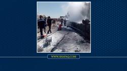 صور.. إخماد حريق داخل شركة للألبان ببغداد