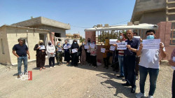موظفون في ديالى ينظمون وقفة إحتجاجية على نقلهم لإقليم كوردستان