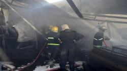 وسط بغداد.. الدفاع المدني يخمد حريقاً بمعمل يحتوي على اسطوانات أوكسجين