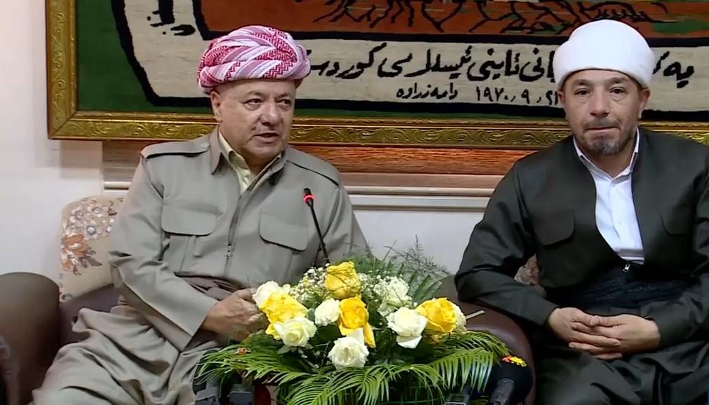 """بارزاني يتأسف ويحث اتحاد علماء الدين الاسلامي بكوردستان لـ""""دور مهم"""""""