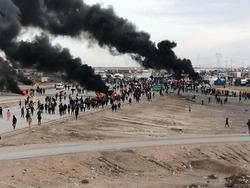 اصابة العشرات بدخانيات اثر تجدد المصادمات في احتجاج الناصرية