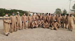 Iraqi staff protest against a British company southern Iraq