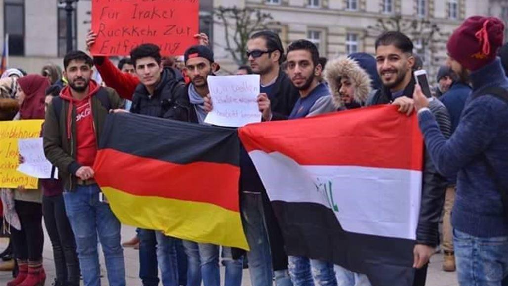 العشرات من الجالية العراقية في المانيا يتظاهرون ويهتفون بإسقاط النظام