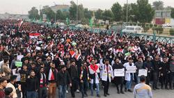 صدامات في كربلاء واصابة متظاهر بقنبلة
