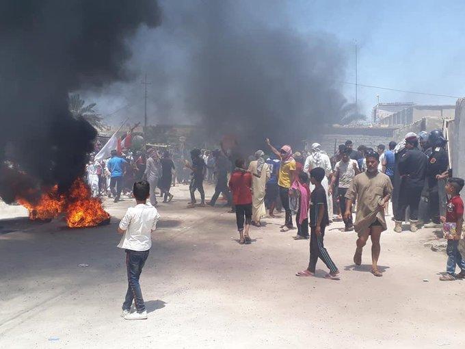 احتجاج وتصادم مع قوات امنية جنوبي العراق