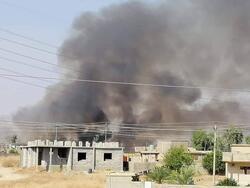 صور.. حريق كبير في معمل كبريت المشراق في الموصل