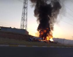 اصابة اربعة اشخاص واحتراق عجلتين بحادث سير جنوب شرق اربيل