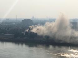 صور .. حريق في المنطقة الخضراء المحصنة وسط العاصمة بغداد