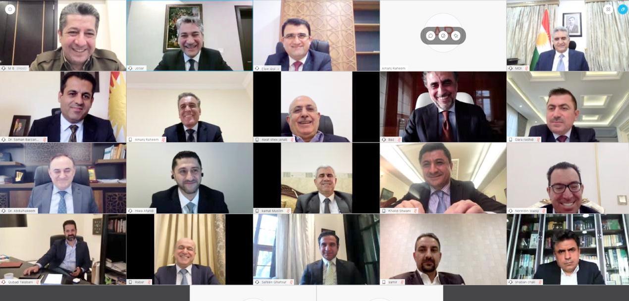 أول اجتماع افتراضي لحكومة كوردستان يبحث ملفين