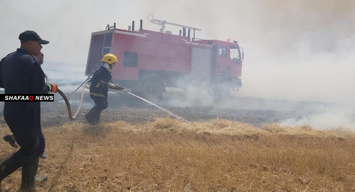 حريق في المنطقة الخضراء وسط بغداد