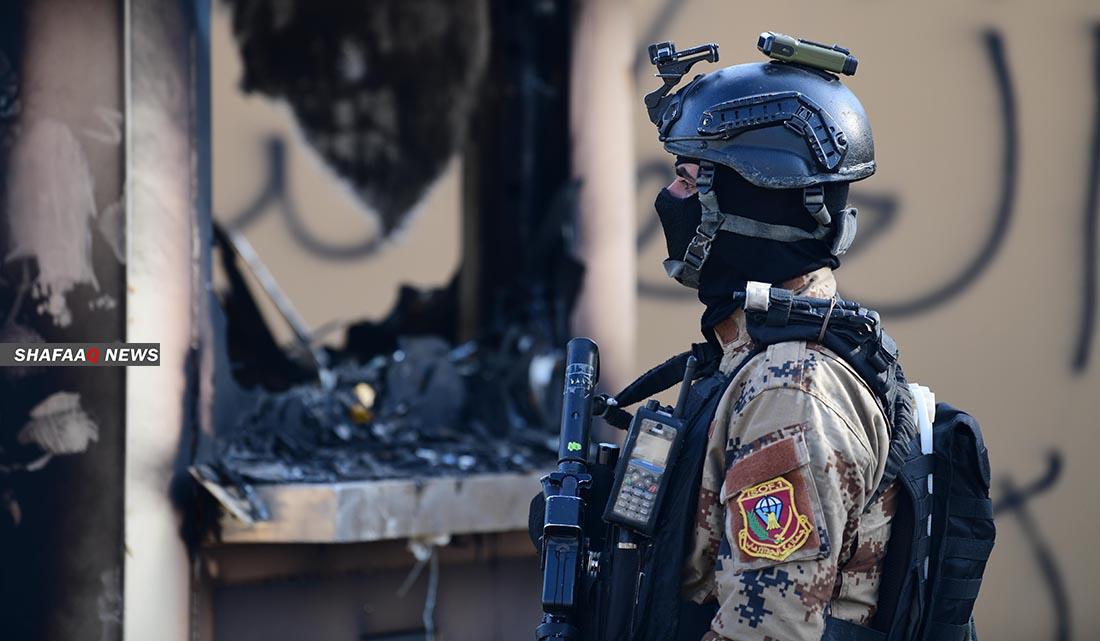 حريق قرب السفارة الامريكية ببغداد نتيجة قصف المنطقة الخضراء